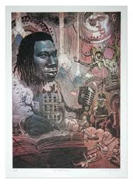 image of krs one lithograph print art of dan artists hip