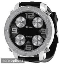 geneva men s watches shop the best deals for 2017 geneva platinum men s milgrain rhinestone accent subdial watch
