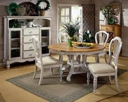 Hillsdale Wilshire Antiqued White 5 Piece Round Dining Set with Side Chairs