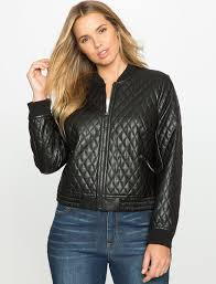 ELOQUII Plus Size Quilted Faux Leather Bomber Jacket | Where to ... & ... ELOQUII Plus Size Quilted Faux Leather Bomber Jacket ... Adamdwight.com