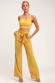 Straight To The Top Mustard Yellow Striped Belted Wide Leg Pants
