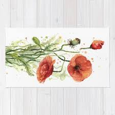 700x700 red poppies watercolor flower fl art rug by olechka society6