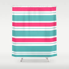 turquoise and fuschia hot pink stripes shower curtain