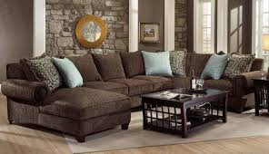 living room decor decorating ideas modern light silver furniture dark leather rug sectional brown sofa rooms