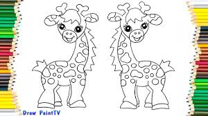 Baby Giraffe Coloring Page Video For