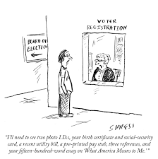 voting essay cameron mccoy presents essay on voting rights to  daily cartoon voting the new yorker daily cartoon 141021 voting