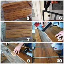 how to make a desk with ikea trestle legs and old wood flooring an oregon