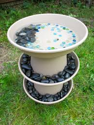 diy bird bath project ideas for summer garden decor tutorial for making bath for garden birds at home with used pots and used containers