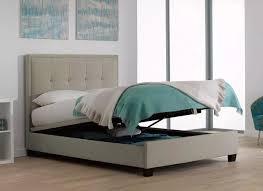 Ottoman Bedroom Evert Oatmeal Fabric Upholstered Ottoman Bed Frame