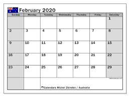 Printable Calendars 2020 With Holidays February 2020 Calendar Australia Michel Zbinden En