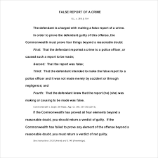 sample police report word pdf documents false report of a crime