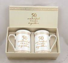 gifts for golden wedding anniversary. 50th golden wedding anniversary pair of mugs gift set wg673 gifts for y