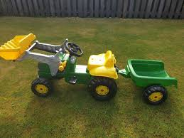 john deere ride on tractor with loader and detachable trailer