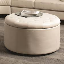 small round leather coffee table