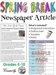 Writing A Newspaper Article Spring Break Writing Newspaper Article Creative Writing
