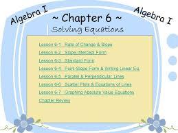 chapter 6 algebra i algebra i solving equations