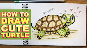 Small Picture How to Draw Cute Cartoon Turtle in Timelapse with Color Pencils