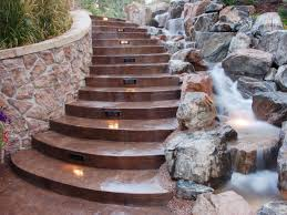 Outdoor Staircase motion sensor outdoor stair lights in a paved stairs besides a 7122 by xevi.us