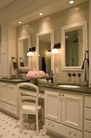 new york traditional bathroom vanities with rubbed bronze sink faucets and ceiling lighting wall mount faucet