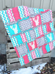 Woodland Baby Girl Quilts and Nursery Bedding with Deer Heads | A ... & Deer Baby Quilts in Aqua, Hot Pink, and Gray Woodland Adamdwight.com