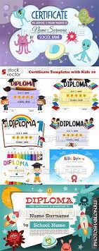 Грамоты дипломы благодарности сертификаты Скачать бесплатно  Векторные шаблоны детских дипломов certificate templates kids 10