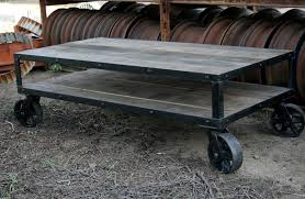 industrial furniture wheels. Furniture, Grey Rectangle Wood Industrial Coffee Table With Wheels Plus Shelf Designs Ideas As Living Furniture D