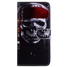 skull head 3d relief oil pu leather wallet case for iphone se 5s 5 leather case guuds