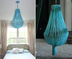 blue bead chandelier turquoise beaded chandelier above the bed blue wood bead chandelier
