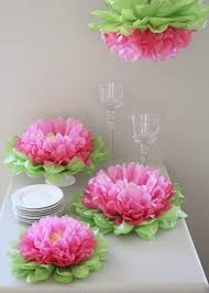 Tissue Paper Flower Centerpieces Girls Party Decorations Set Of 7 Mixed Pink Tissue Paper