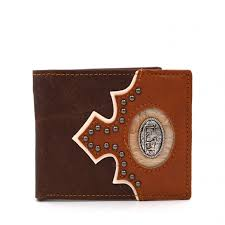 genuine leather western praying cowboy concho bi fold man s short wallet coffee