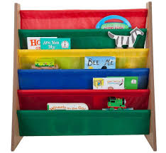 saganizer wooden frame book rack with nylon pockets