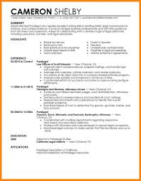 Paralegal Resume Objective Legal Assistant Cover Letter Sample
