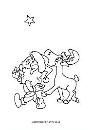 Kleurplaat Kerstster Rendier Kerstman Feestdagen
