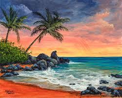 landscape painting makena beach sunset by darice machel mcguire