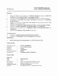 Sample Resume For Software Tester Fresher Software Testing Experience Resume Format Fresh Sample Resume 20