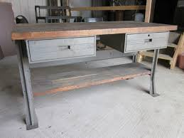 Vintage Machine Shop Wood & Metal Industrial 2 Drawer Work Bench | eBay
