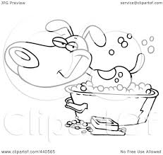 tub clipart black and white. royalty-free (rf) clip art illustration of a cartoon black and white outline design happy dog bathing in tub by toonaday clipart
