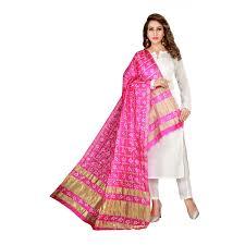 Designer Net Dupatta Online Pink Latest Weaving Worked Silk Dupatta
