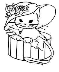 Small Picture Cute Kitty Cat With A Fancy Hat Coloring Page 7185