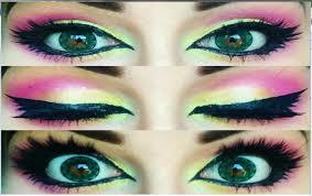 cute big eye makeup yellow pink