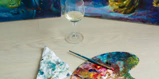 wine and paint is all the rage and it s easy to see why sit back relax and express some artistic creativity all while enjoying a nice glass of merlot