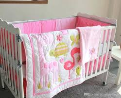 flamingo paradise baby bedding nursery girl set embroidery flamingos quilt per mattress cover blanket cotton crib