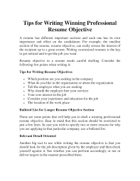 20 Writing An Objective For A Resume | Mhidglobal.org