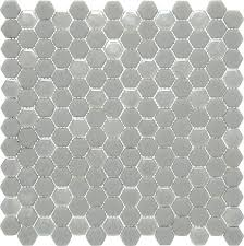 recycled glass hexagon tile white hex