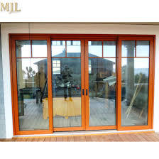 tempered glass aluminium frame exterior door with fixed grill design