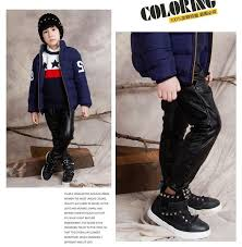 fashion brand 1pc retailed 3 10years old children leather pants black winter warm boys leather pants