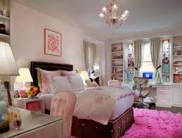 funky colorful teenage girl bedroom design ideas with crystal chandeliers and pink rug