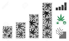 Bar Chart Mosaic Of Hemp Leaves In Various Sizes And Color Shades