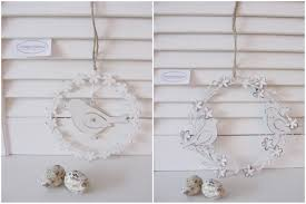 Metall Blumen Kranz Mit Vogel Zum Hängen Weiß Zink Fenster Deko