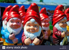 garden gnomes in a row